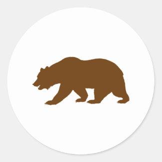 Forma del oso pegatina redonda