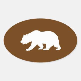 Forma del oso calcomanías ovales