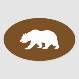 Forma del oso pegatina ovalada