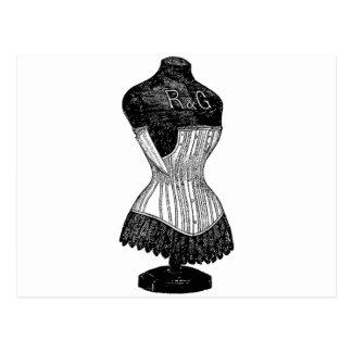 Forma del vestido del corsé del vintage postal