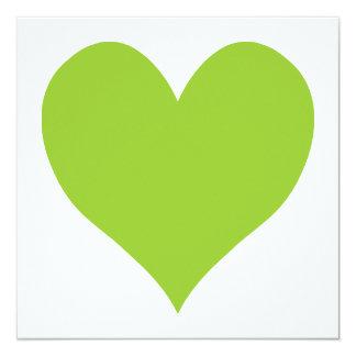 Forma linda verde del corazón invitación 13,3 cm x 13,3cm