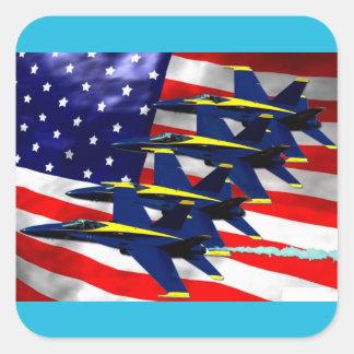 Formación de jet militar pegatina cuadrada