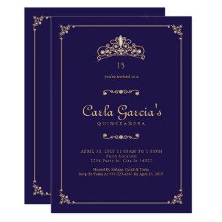Formal, invitaciones de Quinceanera del oro