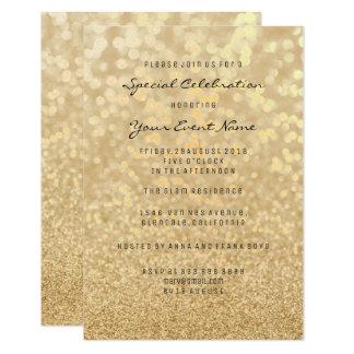 Formal mínimo de la falsa plata del brillo del oro invitación 8,9 x 12,7 cm