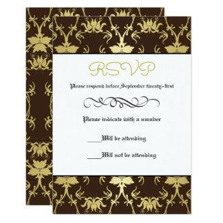 Formal retro de la hoja de oro - tarjeta de RSVP Invitación 8,9 X 12,7 Cm