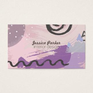 Formas bosquejadas púrpuras del Doodle de los años Tarjeta De Visita