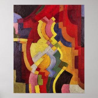 Formas coloreadas (iii) en agosto Macke Póster