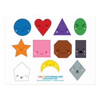 Formas del preescolar de Kawaii Tarjeta Postal