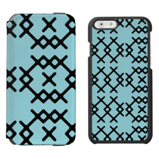 Formas geométricas de la isla del nómada azul funda cartera para iPhone 6 watson