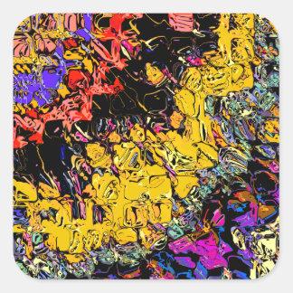 Formas y colores de desplazamiento pegatina cuadrada