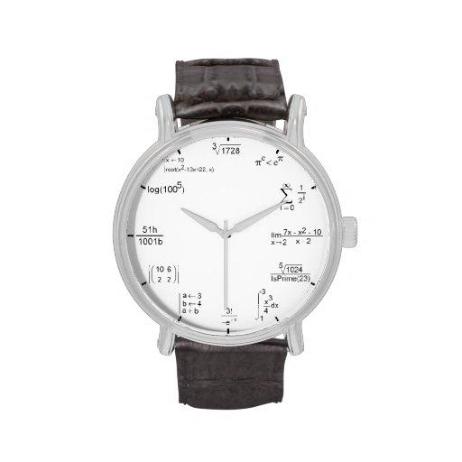 fórmula de la matemáticas relojes de mano