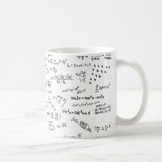 Fórmulas y números de la matemáticas taza de café
