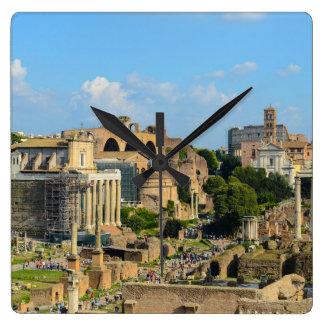 Foro romano en Roma Reloj Cuadrado