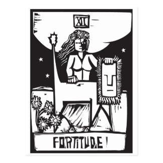 Fortaleza de ánimo de la carta de tarot postales