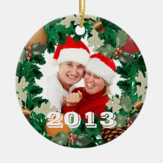 Foto 2013 de la guirnalda del navidad adorno redondo de cerámica
