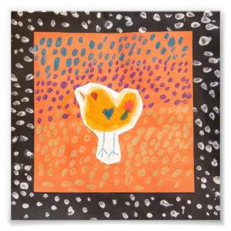 """Foto 6"""" x 6"""" impresión anaranjada y negra del pollo"""