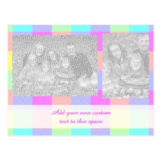 Foto a cuadros dos del arco iris en colores pastel postal