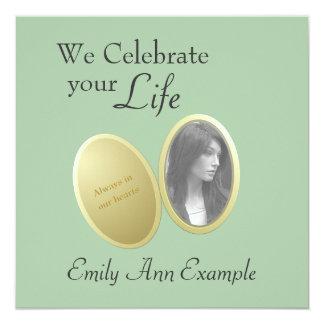 Foto adaptable: Estela/(viviendo) entierro Invitación 13,3 Cm X 13,3cm
