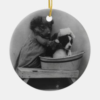 Foto adorable del baño del perrito del vintage ornamentos para reyes magos
