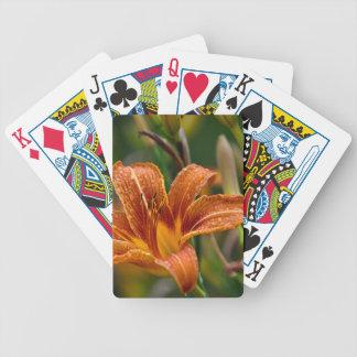 Foto anaranjada del Daylily y de la flor de las go Cartas De Juego