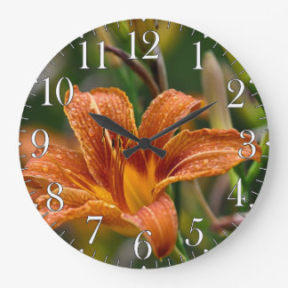 Foto anaranjada del Daylily y de la flor de las go Reloj Redondo Grande