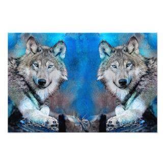 Foto Arte azul de las técnicas mixtas del lobo