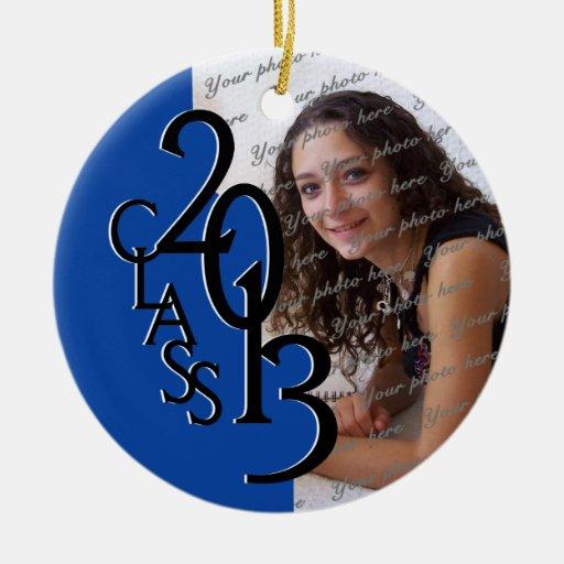 Foto azul 2013 de la graduación de la clase adorno de navidad
