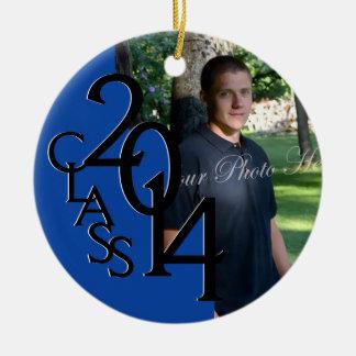 Foto azul 2014 de la graduación de la clase adorno navideño redondo de cerámica