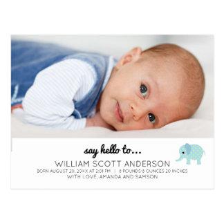 Foto azul de la invitación del nacimiento del bebé