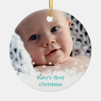 Foto azul del personalizado del niño del pan de adorno navideño redondo de cerámica