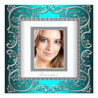Foto azul Quinceanera del trullo hermoso Invitación 13,3 Cm X 13,3cm