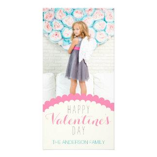 Foto azul rosada poner crema limpia simple de la tarjeta fotografica personalizada
