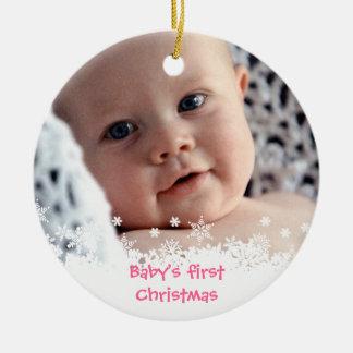 Foto blanca del personalizado del niño del pan de ornaments para arbol de navidad