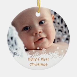 Foto blanca del personalizado del niño del pan de adorno navideño redondo de cerámica
