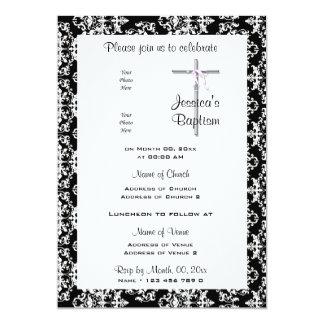 Foto blanca negra rosada del bautismo invitación 12,7 x 17,8 cm