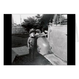 foto blanco y negro de los años 50 tarjeta de felicitación