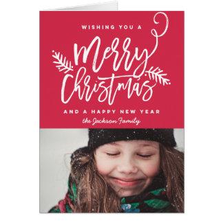 Foto brillante del navidad de la escritura moderna tarjeta de felicitación