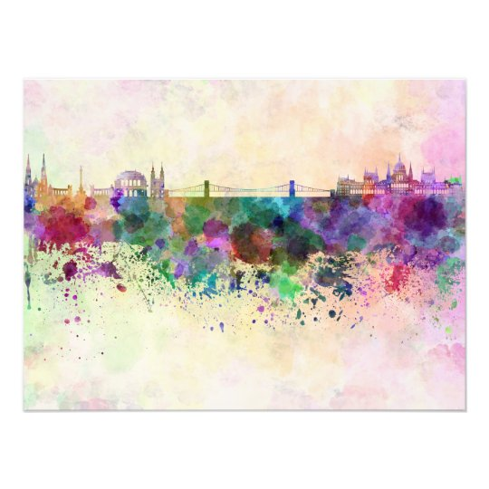 Foto Budapest skyline in watercolor background