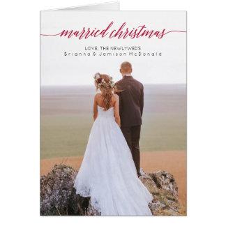 Foto casada del recién casado del navidad doblada tarjeta de felicitación