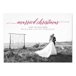 Foto casada del recién casado del navidad invitación 12,7 x 17,8 cm
