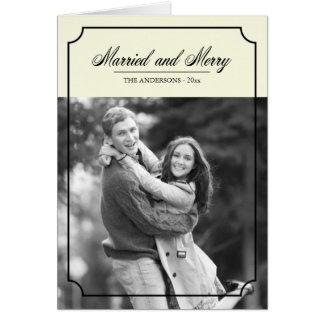 Foto casada y feliz de la frontera clásica del día tarjeta de felicitación