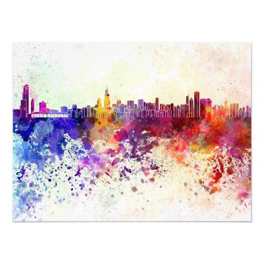 Foto Chicago skyline in watercolor background