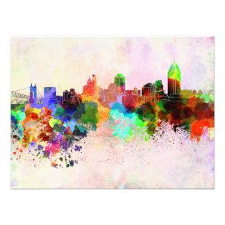 Foto Cincinnati skyline in watercolor background