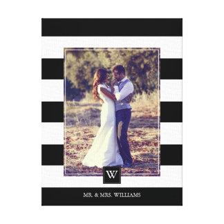 Foto con monograma de las rayas blancos y negros lienzo