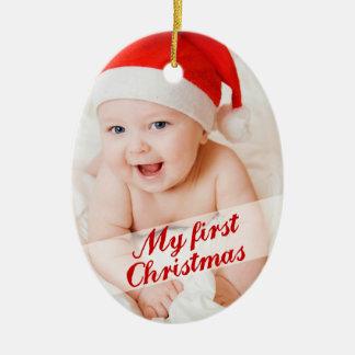 Foto cursiva del día de fiesta del primer navidad adorno navideño ovalado de cerámica