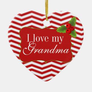 Foto de Chevron de la abuela de las Felices Adorno Navideño De Cerámica En Forma De Corazón