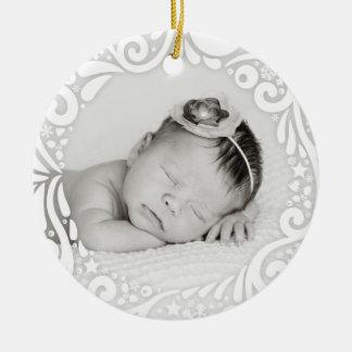 Foto de encargo blanca simple dulce del diseño el adorno navideño redondo de cerámica