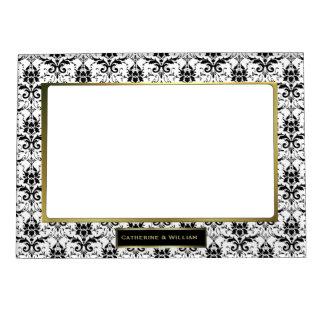 Foto de encargo del boda del damasco negro y blanc marcos magnéticos para fotos