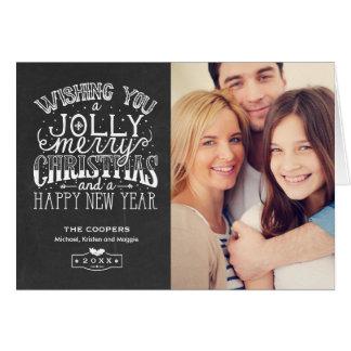 Foto de familia alegre de la pizarra de las tarjeta de felicitación