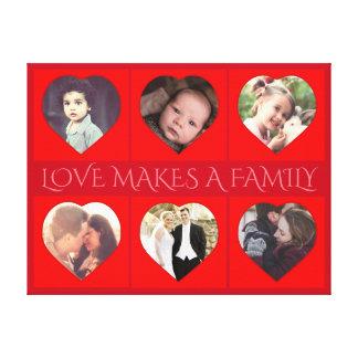 Foto de familia en forma de corazón personalizada lienzo